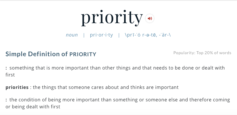 the definition of priority